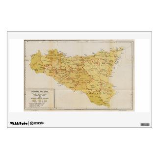 Mapa de la actividad de la mafia en Sicilia Italia