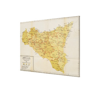 Mapa de la actividad de la mafia en Sicilia Italia Lona Envuelta Para Galerias