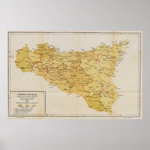Mapa de la actividad de la mafia en Sicilia Italia Impresiones