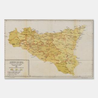 Mapa de la actividad de la mafia en Sicilia Italia Señales