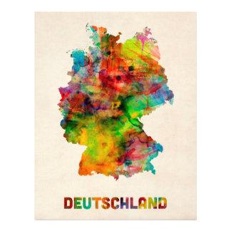 Mapa de la acuarela de Alemania (Deutschland) Flyer A Todo Color