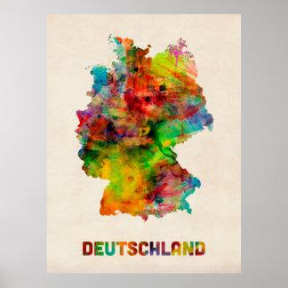 Mapa de la acuarela de Alemania (Deutschland) Póster