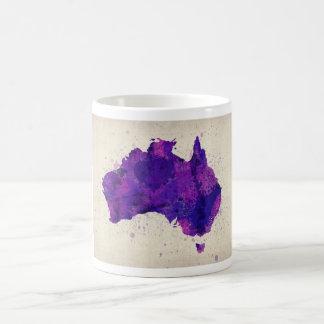 Mapa de la acuarela de Australia Taza Básica Blanca