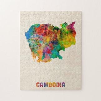 Mapa de la acuarela de Camboya Rompecabeza