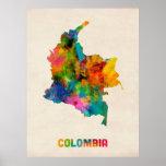 Mapa de la acuarela de Colombia Póster