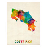 """Mapa de la acuarela de Costa Rica Invitación 4.25"""" X 5.5"""""""