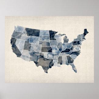 Mapa de la acuarela de Estados Unidos Impresiones