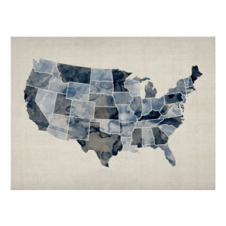 Mapa de la acuarela de Estados Unidos Póster