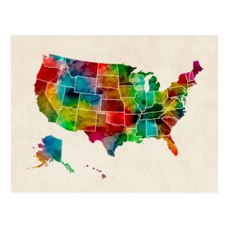 Mapa de la acuarela de Estados Unidos Postal