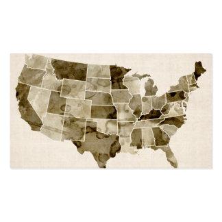 Mapa de la acuarela de Estados Unidos Tarjetas De Visita