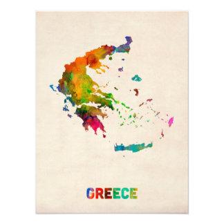 Mapa de la acuarela de Grecia Fotografía