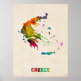 Mapa de la acuarela de Grecia Poster