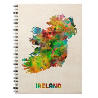 Mapa de la acuarela de Irlanda Eire Libretas Espirales