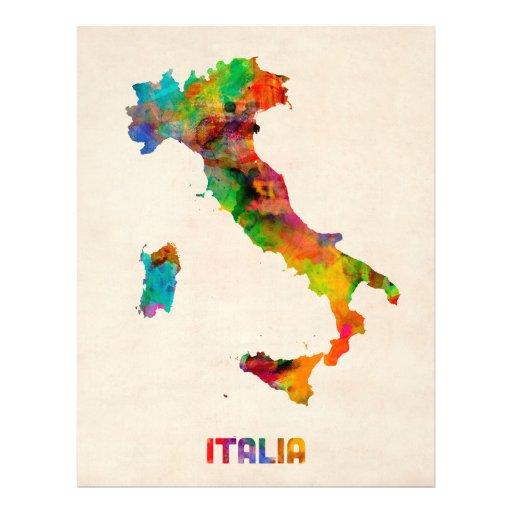 Mapa de la acuarela de Italia, Italia Tarjetones