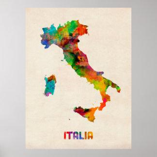 Mapa de la acuarela de Italia, Italia Póster