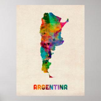 Mapa de la acuarela de la Argentina Póster