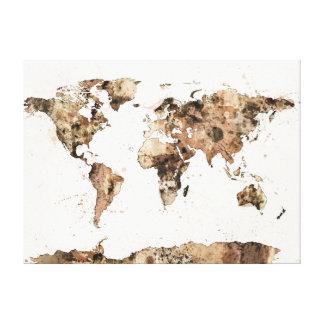 Mapa de la acuarela de la sepia del mapa del mundo impresiones en lona estiradas