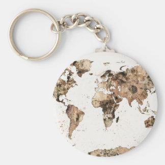 Mapa de la acuarela de la sepia del mapa del mundo llavero redondo tipo pin
