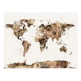 Mapa de la acuarela de la sepia del mapa del mundo postales