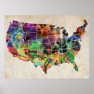 Mapa de la acuarela de los E.E.U.U. Impresiones