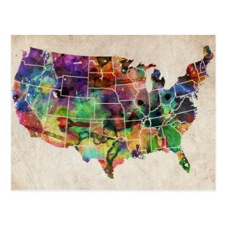 Mapa de la acuarela de los E.E.U.U. Postales