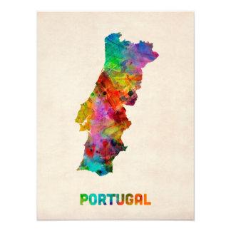 Mapa de la acuarela de Portugal Fotos