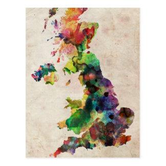Mapa de la acuarela de Reino Unido Tarjeta Postal