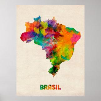 Mapa de la acuarela del Brasil Póster
