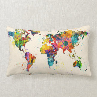 Mapa de la acuarela del mapa del mundo cojín
