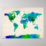 Mapa de la acuarela del mapa del mundo impresiones