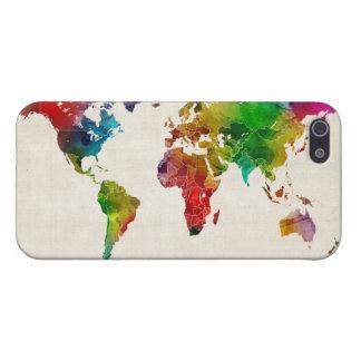 Mapa de la acuarela del mapa del mundo iPhone 5 carcasa