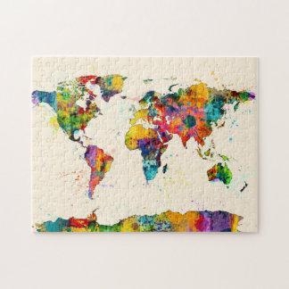 Mapa de la acuarela del mapa del mundo puzzle