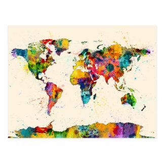 Mapa de la acuarela del mapa del mundo tarjeta postal