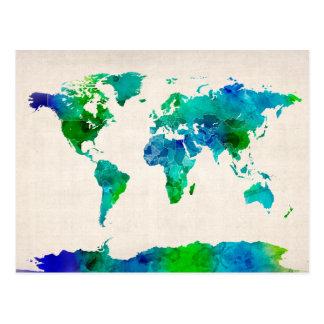 Mapa de la acuarela del mapa del mundo postal