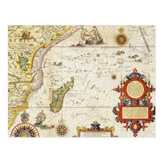 Mapa de la África del Este y de Madagascar, 1596 Tarjeta Postal