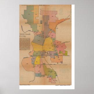 Mapa de la anexión de Sacramento, 1966 Posters