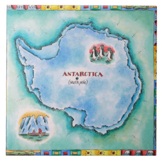 Mapa de la Antártida Azulejo Cuadrado Grande