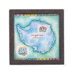 Mapa de la Antártida Caja De Regalo De Calidad