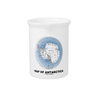 Mapa de la Antártida geografía Jarrones