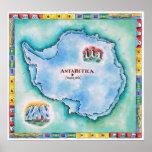 Mapa de la Antártida Póster