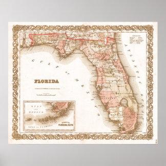 Mapa de la antigüedad 1855 de la Florida Póster