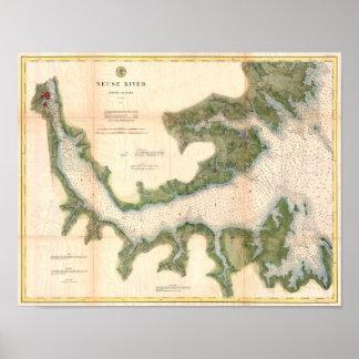 Mapa de la antigüedad de Carolina del Norte del rí Póster