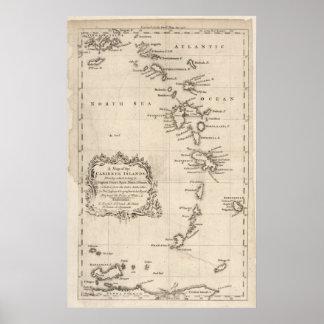 Mapa de la antigüedad de las Antillas Póster
