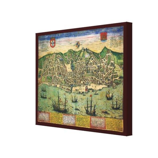 Mapa de la antigüedad del vintage; Plan de ciudad  Lona Envuelta Para Galerías