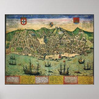 Mapa de la antigüedad del vintage; Plan de ciudad  Impresiones