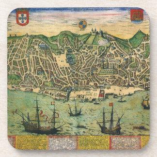 Mapa de la antigüedad del vintage; Plan de ciudad Posavasos De Bebida