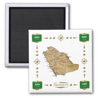 Mapa de la Arabia Saudita + Imán de las banderas