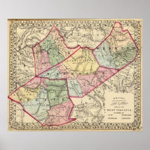 Mapa de la arcilla, Webster, Nicholas, condados de Impresiones