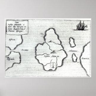 Mapa de la Atlántida, de 'Mundus Subterraneus Poster