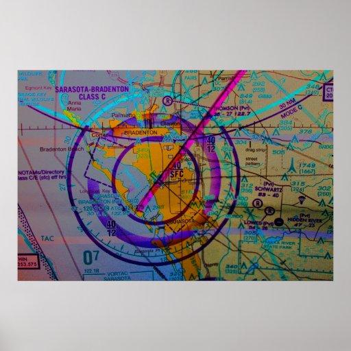 Mapa de la aviación del aeropuerto internacional d posters